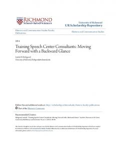Training Speech Center Consultants: Moving Forward with a Backward Glance