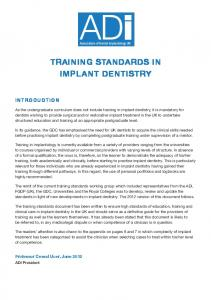 TRAINING STANDARDS IN IMPLANT DENTISTRY