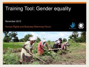 Training Tool: Gender equality