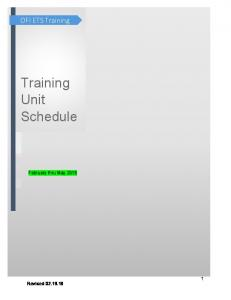 Training Unit Schedule