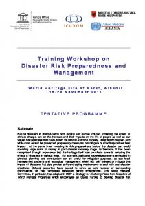 Training Workshop on Disaster Risk Preparedness and Management