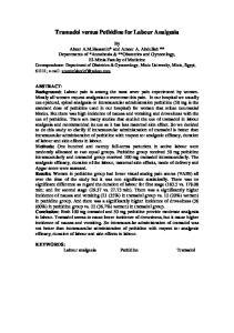 Tramadol versus Pethidine for Labour Analgesia