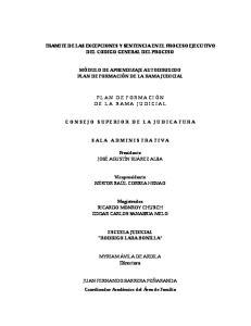 TRAMITE DE LAS EXCEPCIONES Y SENTENCIA EN EL PROCESO EJECUTIVO DEL CODIGO GENERAL DEL PROCESO