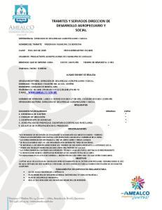 TRAMITES Y SERVICIOS DIRECCION DE DESARROLLO AGROPECUARIO Y SOCIAL