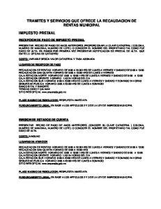 TRAMITES Y SERVICIOS QUE OFRECE LA RECAUDACION DE RENTAS MUNICIPAL
