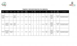 TRAMITES Y SERVICIOS REGISTRO CIVIL MUNICIPAL