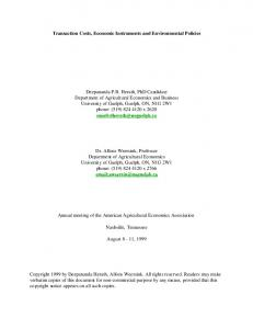 Transaction Costs, Economic Instruments and Environmental Policies