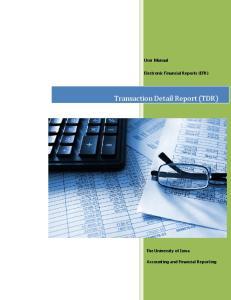 Transaction Detail Report (TDR)
