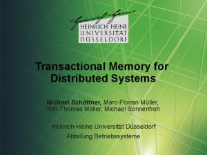 Transactional Memory for Distributed Systems