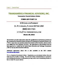 TRANSAMERICA FINANCIAL ADVISORS, INC