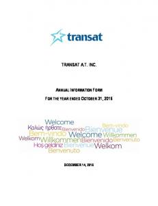TRANSAT A.T. INC. ANNUAL INFORMATION FORM FOR THE YEAR ENDED OCTOBER 31, 2016