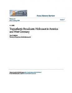 Transatlantic Broadcasts: Holocaust in America and West Germany