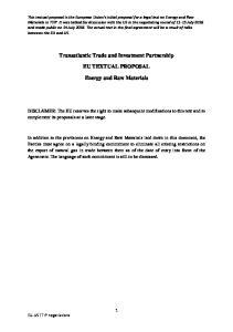 Transatlantic Trade and Investment Partnership EU TEXTUAL PROPOSAL. Energy and Raw Materials