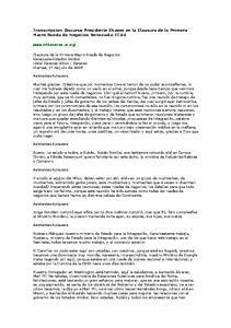 Transcripcion Discurso Presidente Chavez en la Clausura de la Primera Macro Rueda de Negocios Venezuela-EEUU