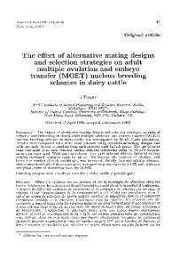 transfer (MOET) nucleus breeding schemes in dairy cattle
