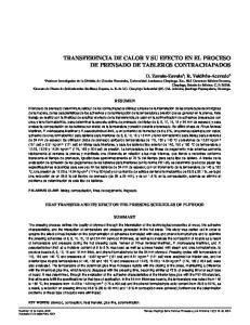 TRANSFERENCIA DE CALOR Y SU EFECTO EN EL PROCESO DE PRENSADO DE TABLEROS CONTRACHAPADOS
