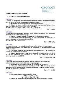 TRANSFERENCIA DE ELECTRONES AJUSTE DE REACCIONES REDOX