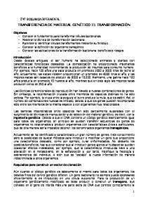 TRANSFERENCIA DE MATERIAL GENÉTICO II: TRANSFORMACIÓN
