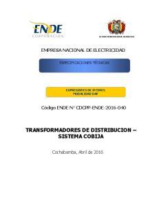 TRANSFORMADORES DE DISTRIBUCION SISTEMA COBIJA