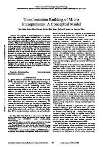 Transformation Building of Micro- Entrepreneurs: A Conceptual Model