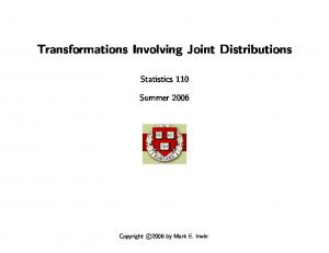 Transformations Involving Joint Distributions
