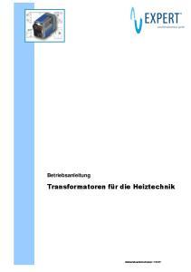 Transformatoren. Betriebsanleitung. Transformatoren für die Heiztechnik