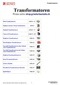 Transformatoren. Preise siehe shop.griederbauteile.ch. Transformatoren. Seite 13. Seite 14. Seite 17. Seite 18. Print-Transformatoren Seite 2 4