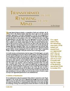 TRANSFORMED BY THE RENEWING OF THE MIND