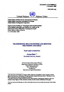 TRANSFORMING HEALTH SYSTEMS AND SERVICES FOR WOMEN AND GIRLS 1