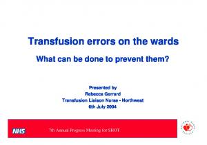 Transfusion errors on the wards