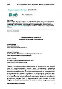 Transgovernmental Networks in European Security and Defence Policy