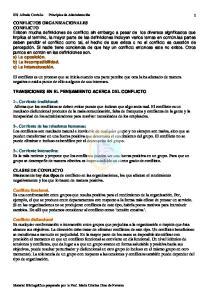 TRANSICIONES EN EL PENSAMIENTO ACERCA DEL CONFLICTO