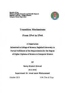 Transition Mechanisms. From IPv4 to IPv6