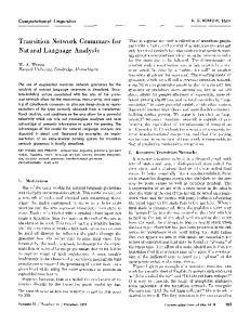 Transition Network Grammars for Natural Language Analysis