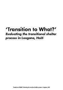 Transition to What? Evaluating the transitional shelter process in Leogane, Haiti