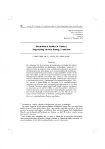 Transitional Justice in Tunisia: Negotiating Justice during Transition