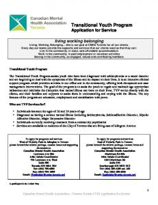 Transitional Youth Program Application for Service