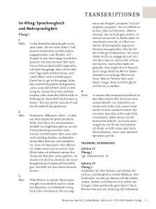 TRANSKRIPTIONEN. Im Alltag: Sprachvergleich und Mehrsprachigkeit