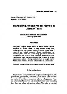 Translating African Proper Names in Literary Texts