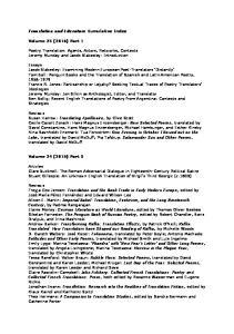 Translation and Literature Cumulative Index. Volume 25 (2016) Part 1