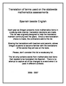 Translation of terms used on the statewide mathematics assessments. Spanish beside English
