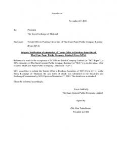 Translation. Tender Offer to Purchase Securities of Thai Cane Paper Public Company Limited (Form 247-4)