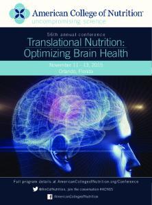 Translational Nutrition: Optimizing Brain Health