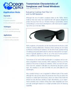 Transmission Characteristics of Sunglasses and Tinted Windows