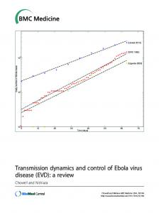 Transmission dynamics and control of Ebola virus disease (EVD): a review. Chowell and Nishiura. [Liberia 2014] [DRC 1995]