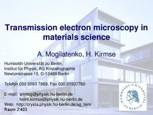 Transmission electron microscopy in