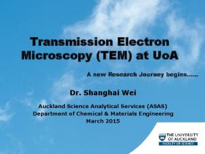 Transmission Electron Microscopy (TEM) at UoA