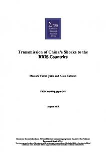 Transmission of China s Shocks to the BRIS Countries