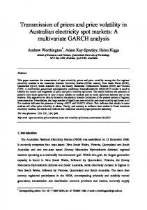 Transmission of prices and price volatility in Australian electricity spot markets: A multivariate GARCH analysis