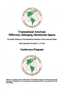 Transnational Americas: Difference, Belonging, Identitarian Spaces